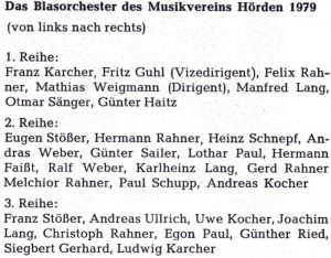 Musikverein 1979 Namen