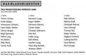 Musikverein 1989 Namen